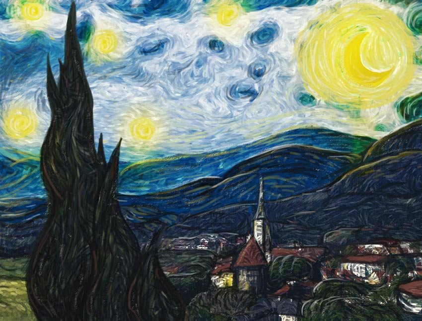 Starry Night Painting Effect