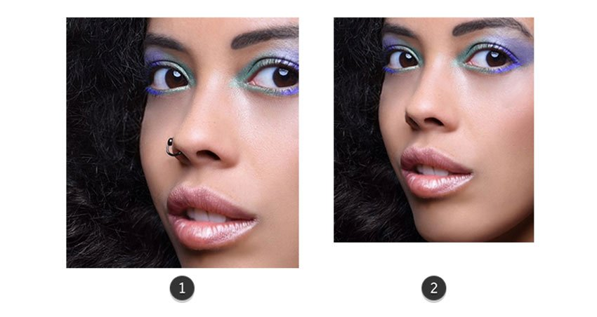 Remove the nose ring with photoshop