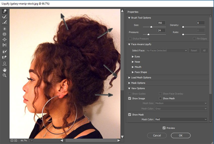 Use Liquify for hair volume