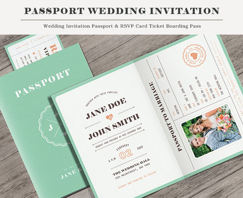 Pastel Passport Wedding Invitation