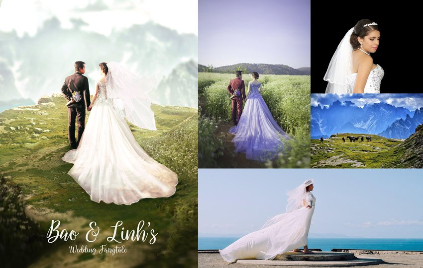 Wedding Photo Manipulation Before and After