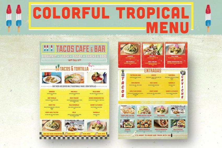 Colorful Tropical Menu