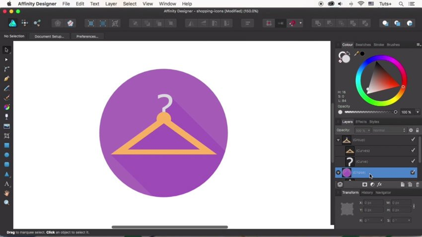 Finish the hanger icon