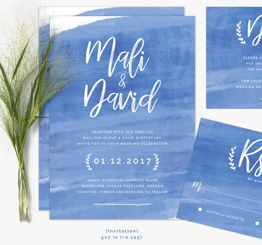 Modern Brush Wedding Invitations