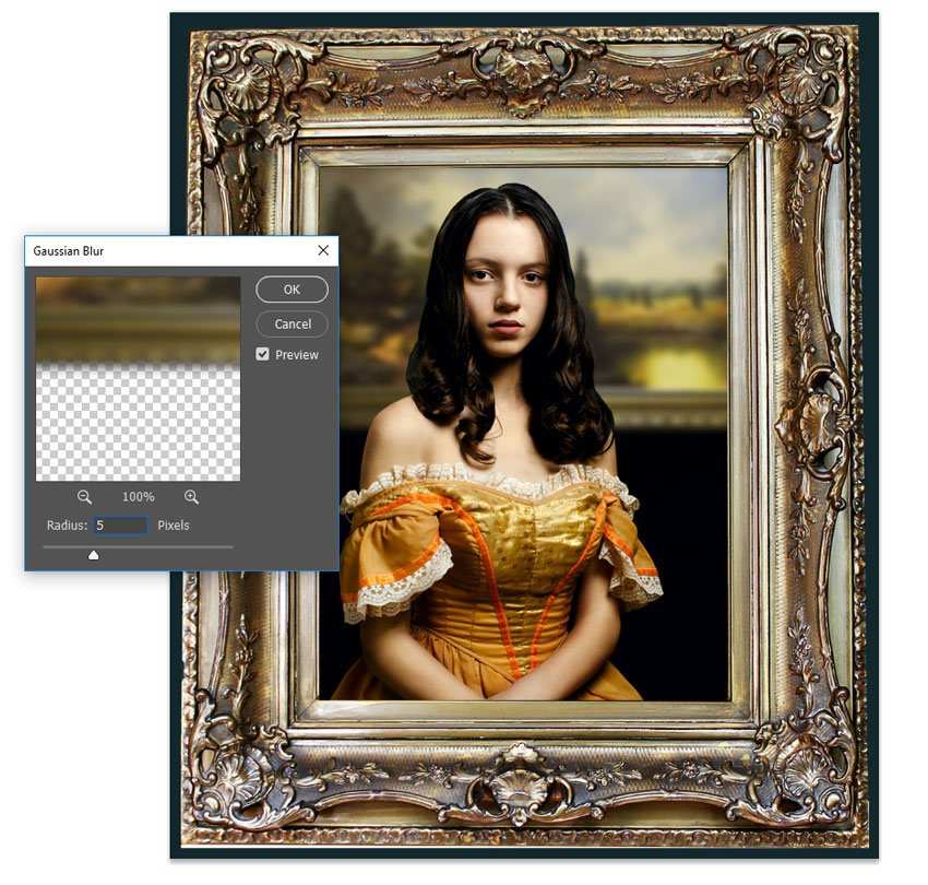 Blur the painting with gaussian