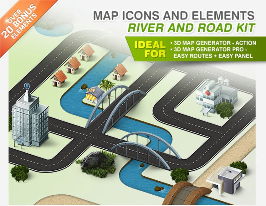 Map Icons and Elements - River and Road Kit