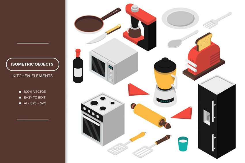 Isometric Kitchen Objects