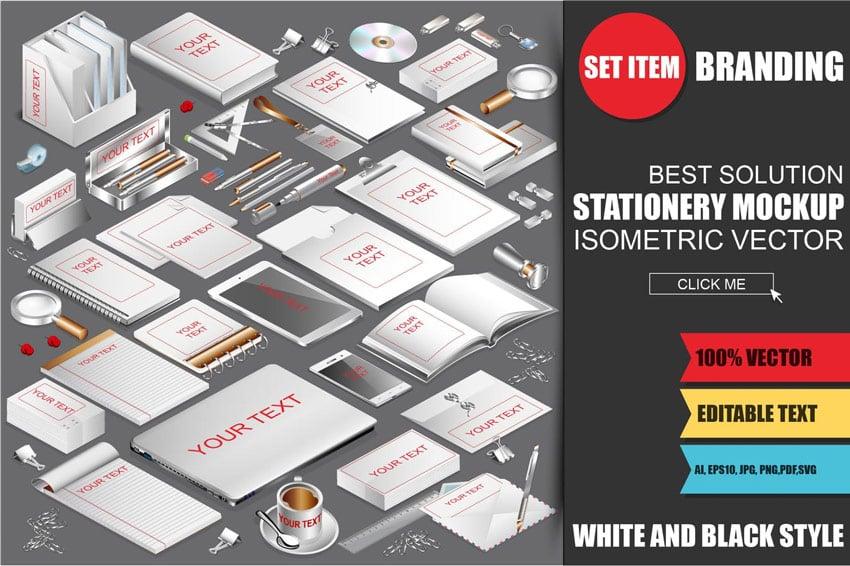 Isometric Stationery Mockup Generator
