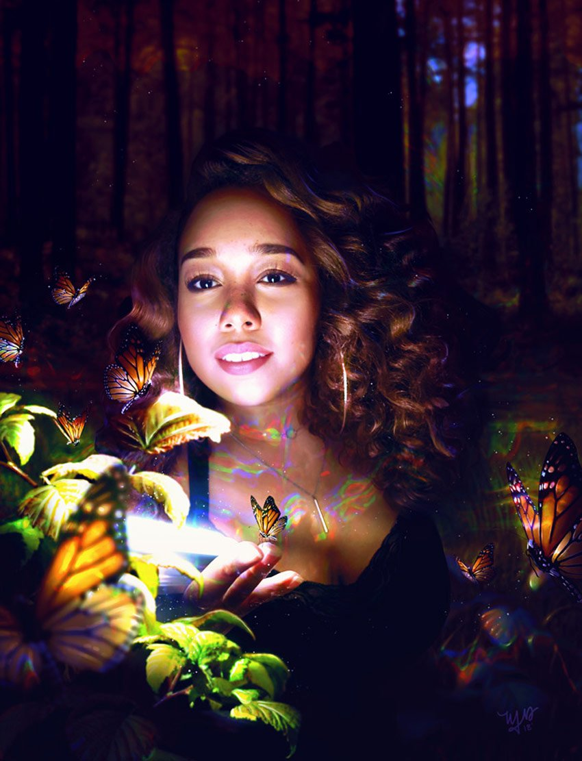 Cool Forest Self Portrait Photo Manipulation Photoshop Tutorial by Melody Nieves