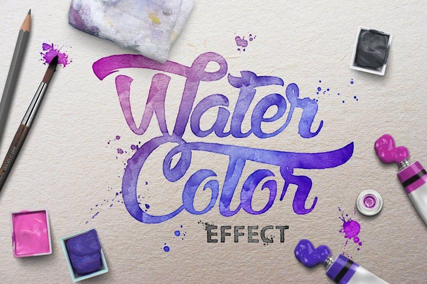 Watercolor Scene Text Mockups