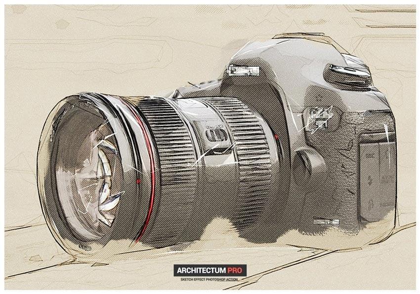 Architectum - Skizzenentwurf Photoshop-Aktion