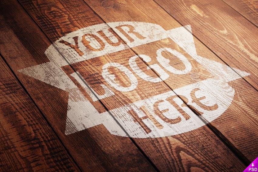 Wood Paint Logo Mockup