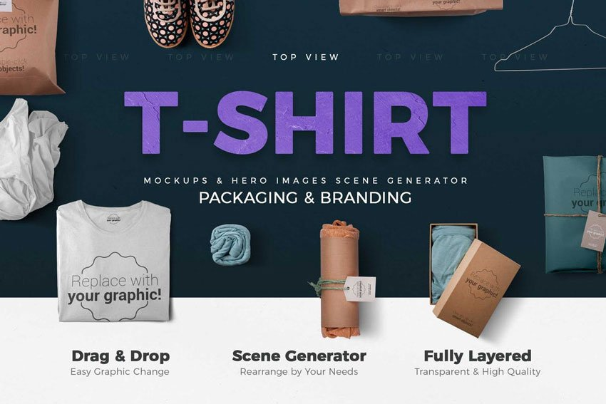 T-shirt and Packages Mockups
