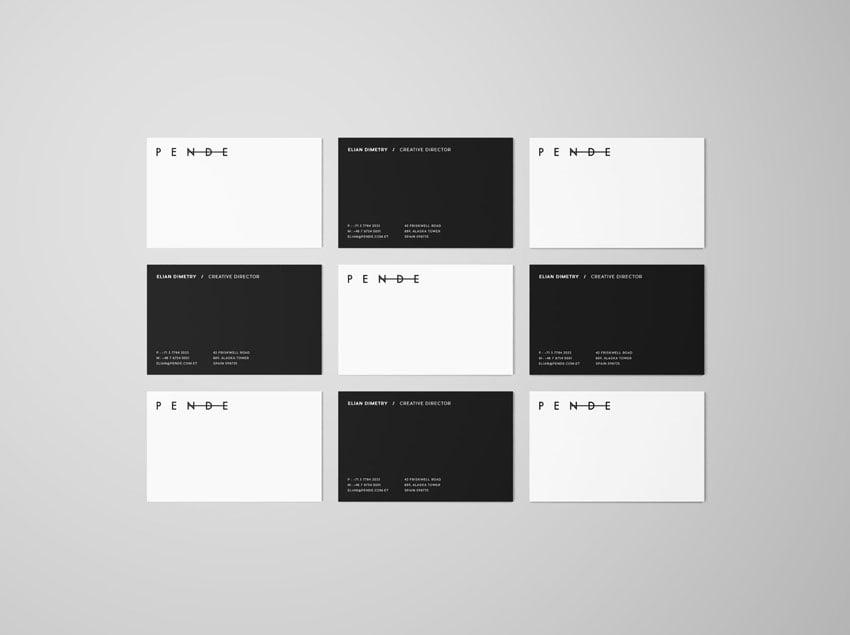 Uniform Overhead Business Cards Mockup