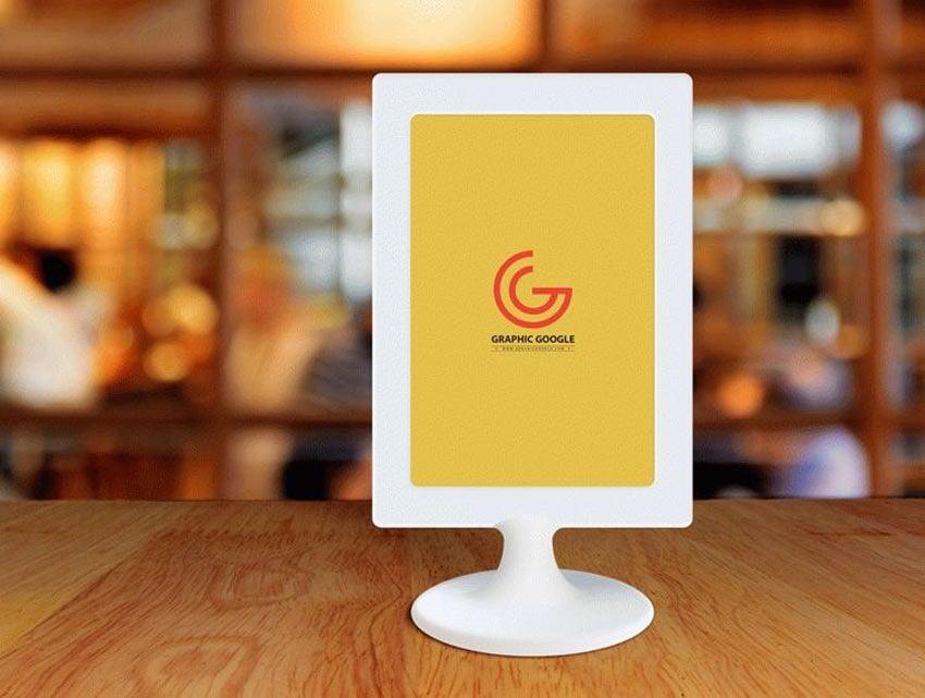 Restaurant Menu Frame on Table Mockup