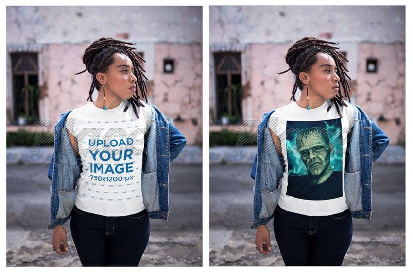 Dreadlocks Model T-shirt Mockup