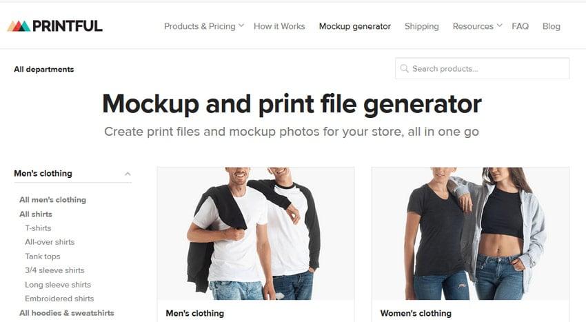 Printful T-shirt and Mockup Generator