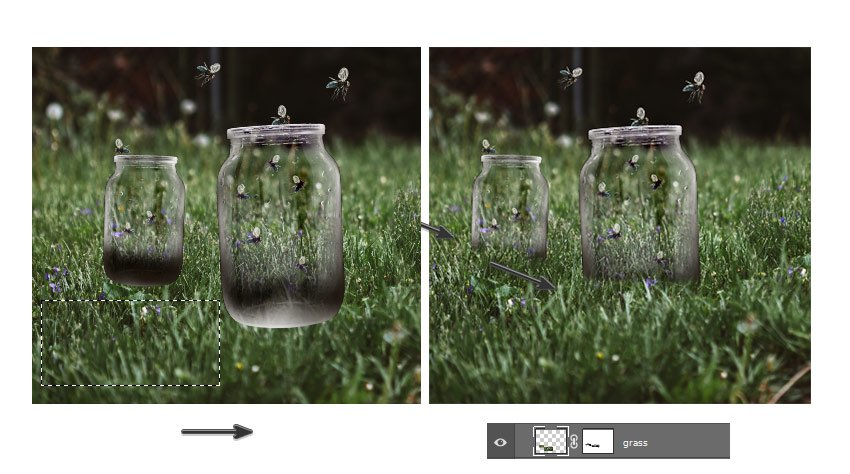 Cover the bottom of the jars with grass