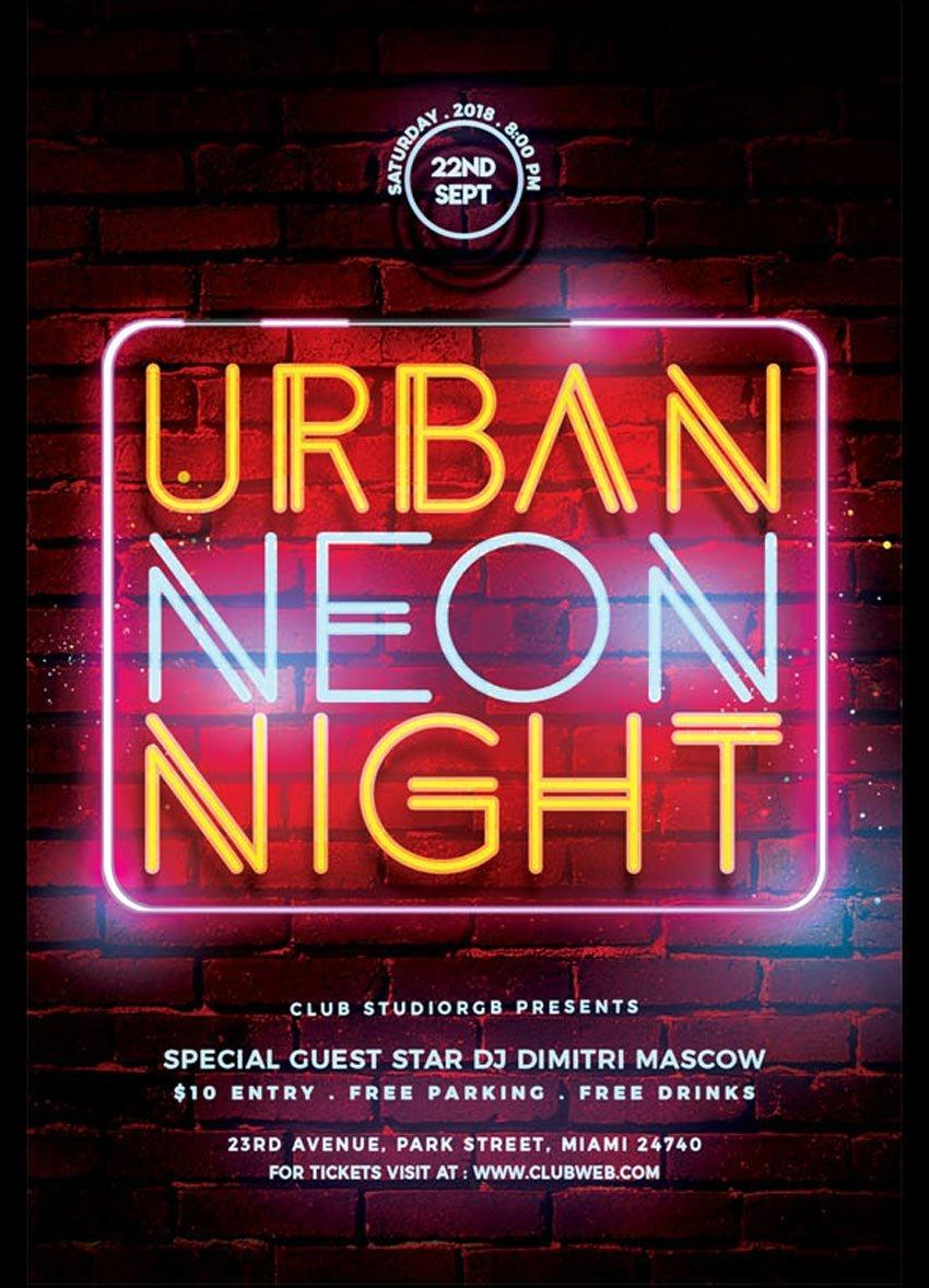 Urban Neon Party Flyer