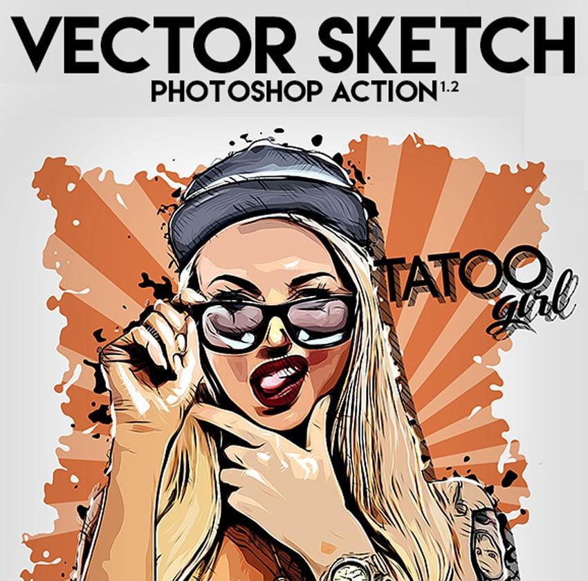 Vector Sketch Portrait Photoshop Action