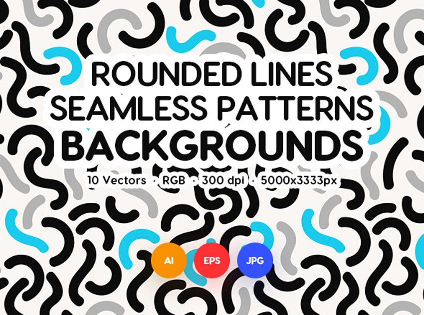 Organic Rounded Lines Seamless Patterns