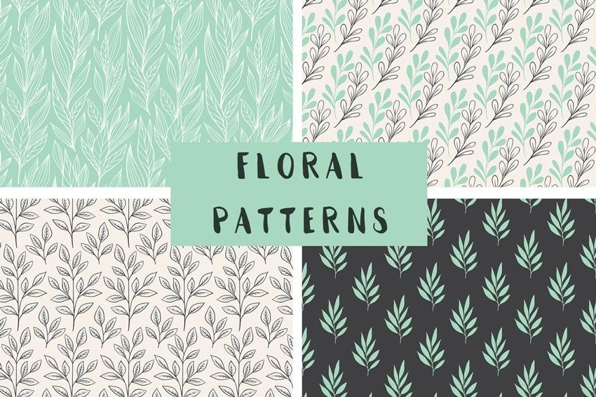 Floral Seamless Line Patterns