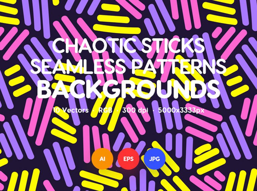 Chaotic Rounded Sticks Seamless Patterns