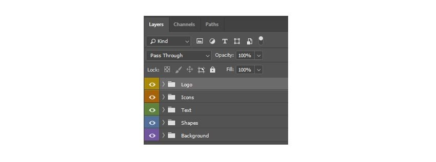 Organize Photoshop layers with groups and colors