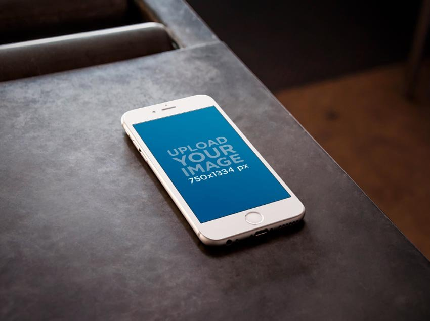 iPhone on Metal Table Mockup
