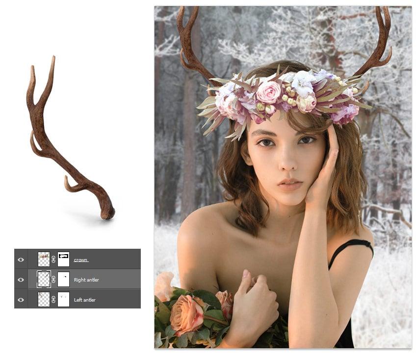 add the deer antlers