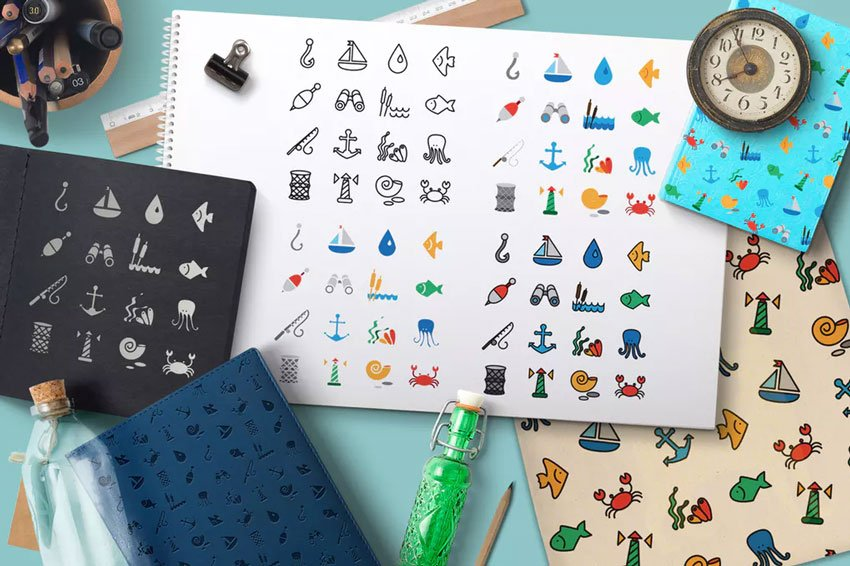 Sea Icons and Patterns Set