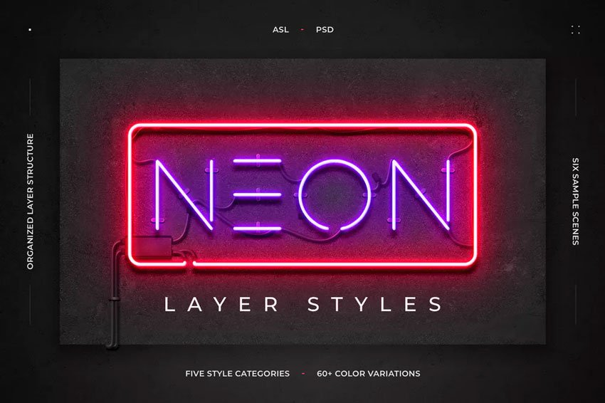 Neon Simple Text Effects Photoshop