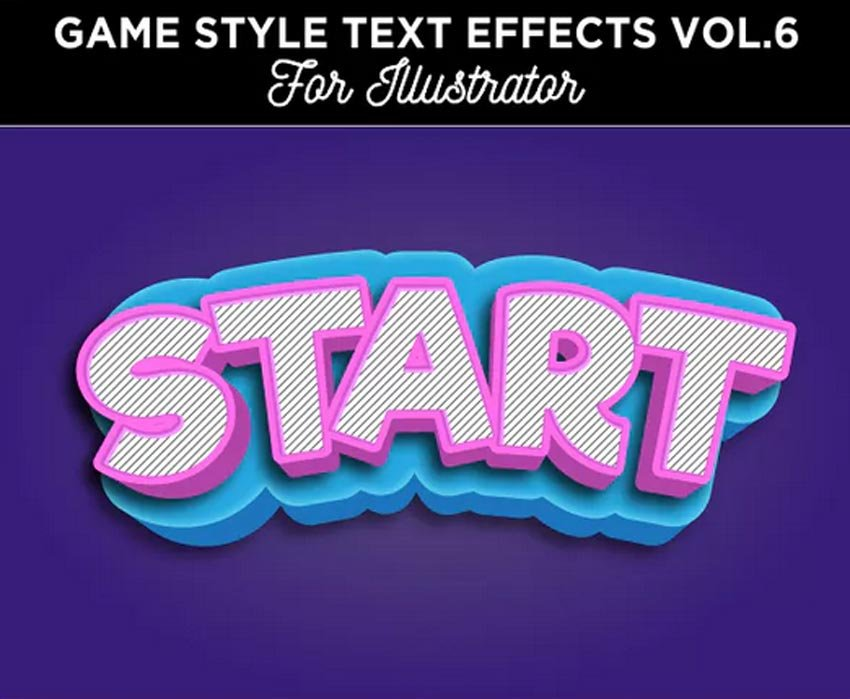 Game Style Text Effect for Illustrator