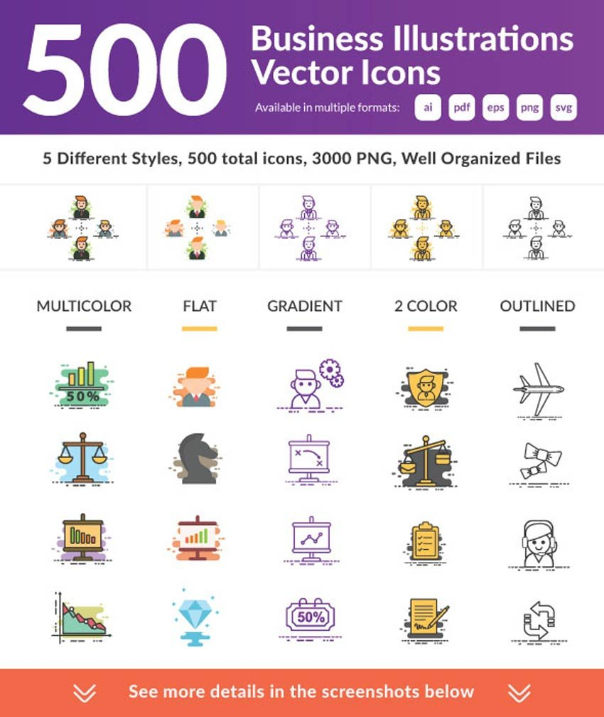 500 Business Illustrations Vector Icons