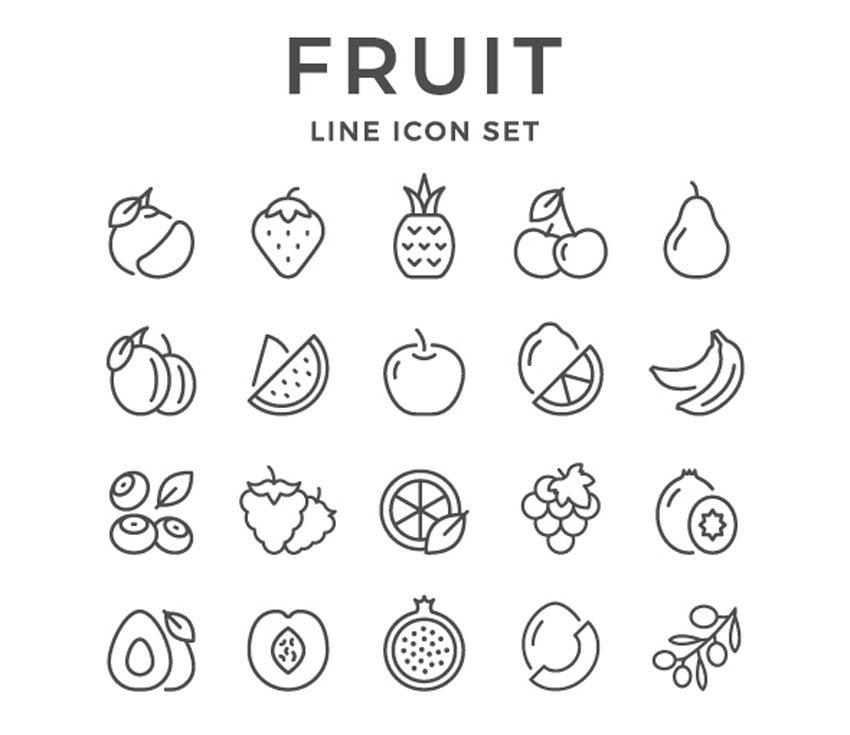 Set Line Icons of Fruit