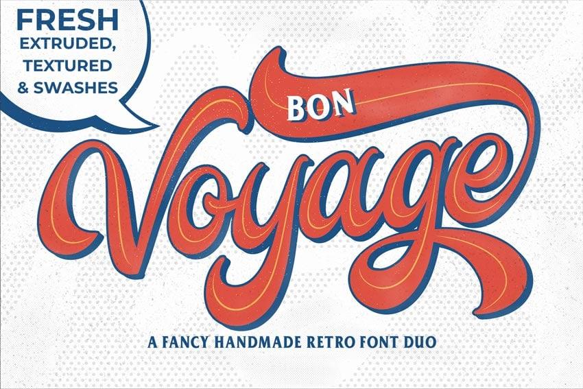 Bon Voyage Baseball Font With Tail
