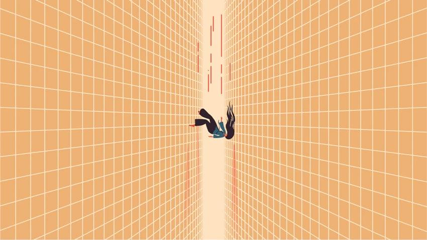 Woman Falling Through the Cracks