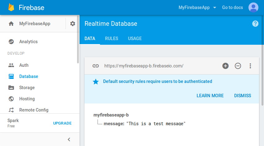 Contents of realtime database in console