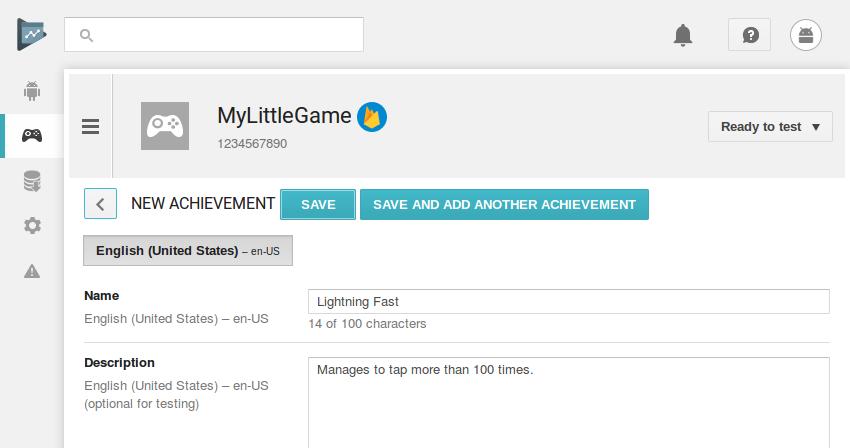 Achievement creation screen