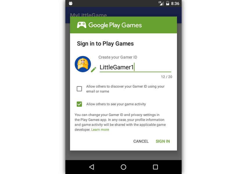 Sign in to Play Games dialog