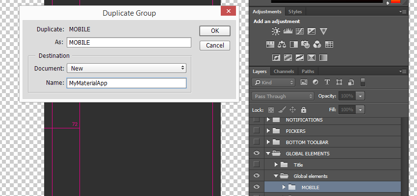 Duplicate Group dialog for the MOBILE layer group