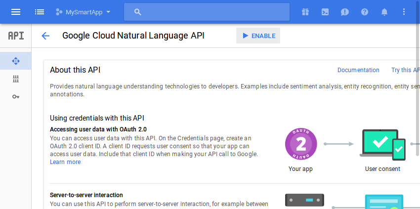 Enabling Cloud Natural Language API