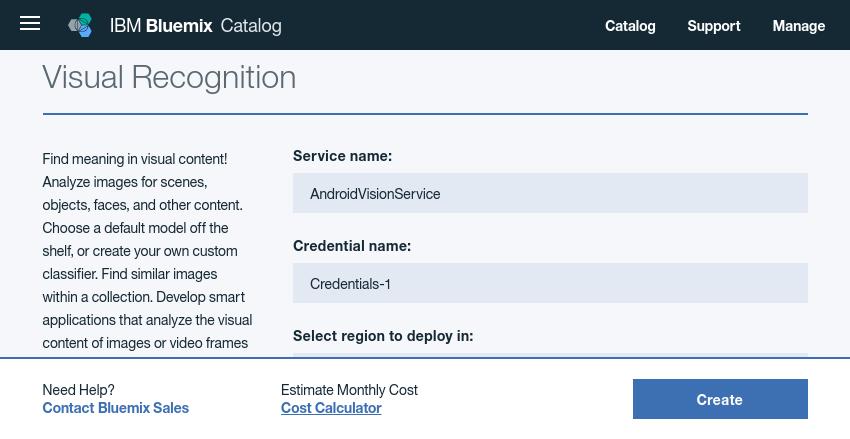 Visual Recognition service configuration