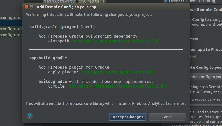 Project changes prompt