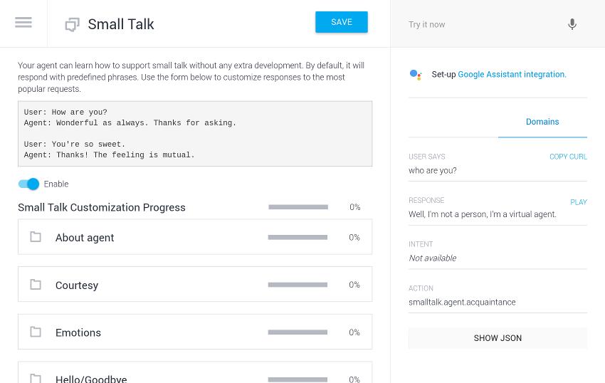 Small talk configuration screen