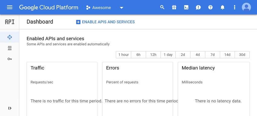 APIs dashboard on Cloud console
