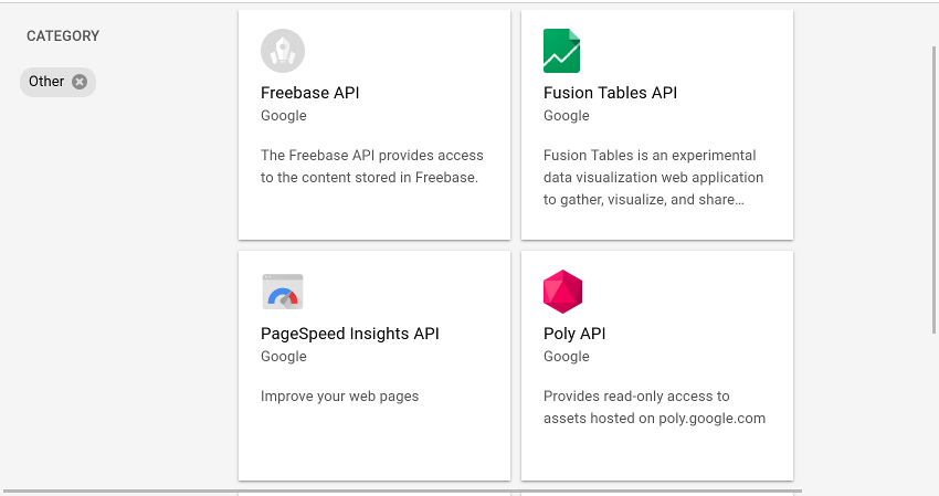 Other APIs section