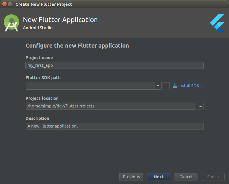Flutter project configuration dialog