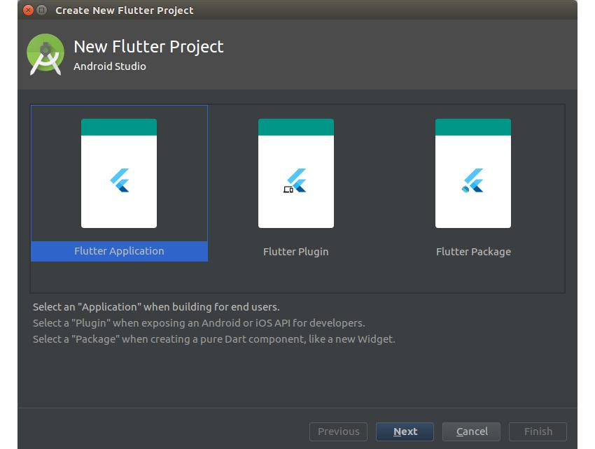 Create Flutter project dialog