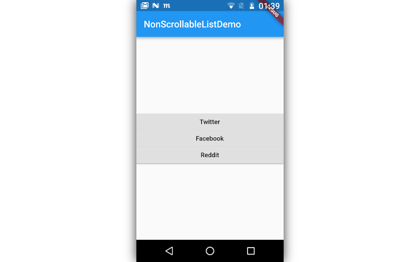 App displaying column with three buttons